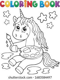 Colorante libro pintar unicornio tema 1 - ilustración vectorial eps10.