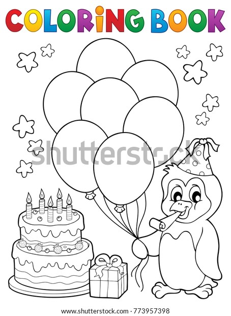 Coloring book party penguin topic 1 - eps10 vector illustration.