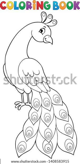 Coloring book peacock theme 2 - eps10 vector illustration.