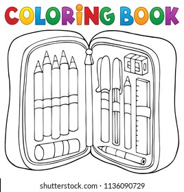 Coloring book pencil case theme 1 - eps10 vector illustration.