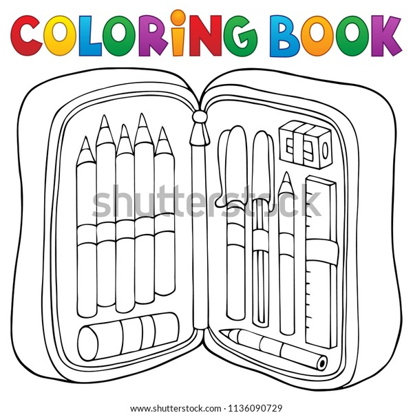 Coloring book pencil case theme 1 - eps10 vector illustration.