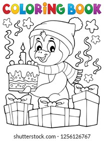 Coloring book penguin with cake theme 2 - eps10 vector illustration.