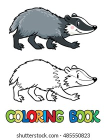 Coloring book or coloring picture of funny badger or brock. Children vector illustration