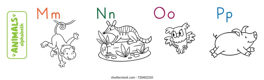 Coloring book or coloring picture of funny monkey, numbat, owl and panda. Animals zoo alphabet or ABC.