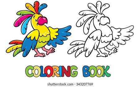 Coloring book or coloring picture of funny parrot