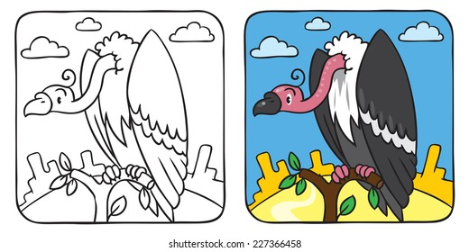 Coloring book or coloring picture of funny vulture sitting high on a branch above the Prairie