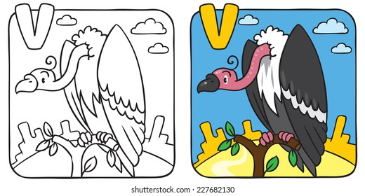 Coloring book or coloring picture of funny vulture sitting high on a branch above the Prairie. Alphabet V