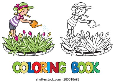 Coloring book or coloring picture of girl watering the flowers in the flowerbed