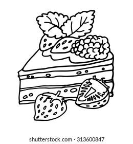 Coloring book (pie). Hand drawn vector.
