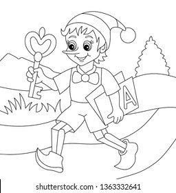 Coloring book pinocchio isolated on white background. Vector illustration for kids