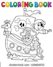 Coloring book pirate boat theme 1 - eps10 vector illustration.