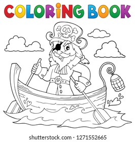 Coloring book pirate in boat topic 1 - eps10 vector illustration.