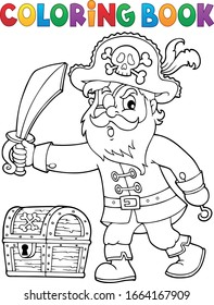 Coloring book pirate holding sabre 1 - eps10 vector illustration.