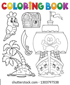 Coloring book pirate thematics 2 - eps10 vector illustration.