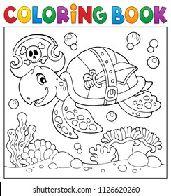 Coloring book pirate turtle theme 2 - eps10 vector illustration.