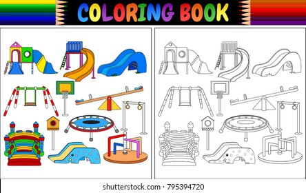 Coloring book with playground equipment icons set
