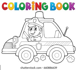 Coloring book police car theme 1 - eps10 vector illustration.