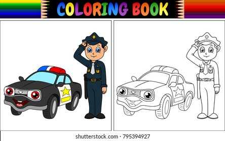 Coloring book with policeman and police car