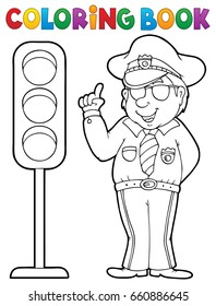 Coloring book policeman with semaphore - eps10 vector illustration.