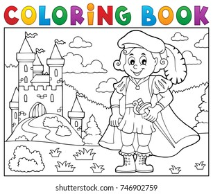 Coloring book prince and castle 2 - eps10 vector illustration.