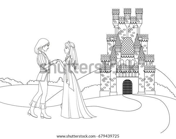 Coloring Book Prince Princess Front Castle Stock Vector Royalty Free 679439725