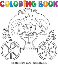 Coloring book princess carriage theme 1 - eps10 vector illustration.