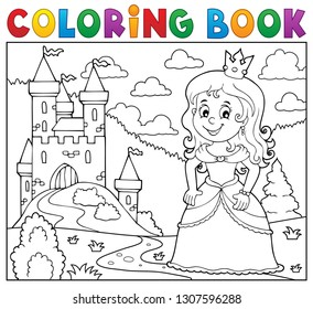 Coloring book princess topic image 1 - eps10 vector illustration.