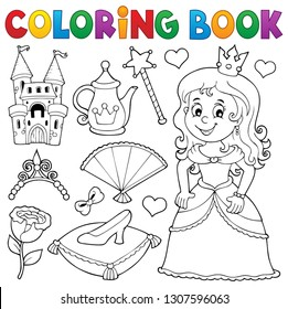 Coloring book princess topic set 1 - eps10 vector illustration.