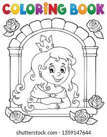 Colorante princesa de libro en el tema 1 de la ventana - ilustración vectorial eps10.