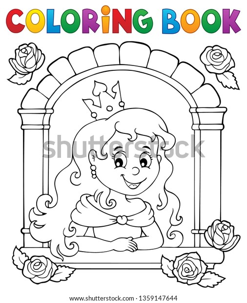 Coloring book princess in window theme 1 - eps10 vector illustration.