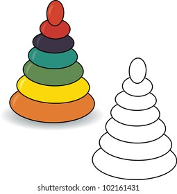 Coloring book. Pyramid vector illustration. Baby toy
