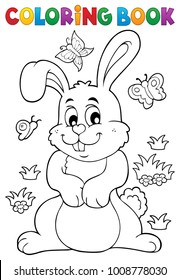 Coloring book rabbit theme 7 - eps10 vector illustration.