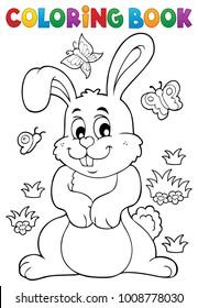 Coloring book rabbit theme 7 - eps10 vector illustration.