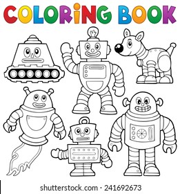Coloring book robot collection 1 - eps10 vector illustration.