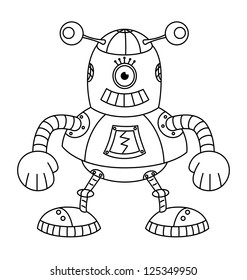 Coloring book with robot, vector illustration