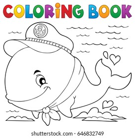 Coloring book sailor whale theme 1 - eps10 vector illustration.