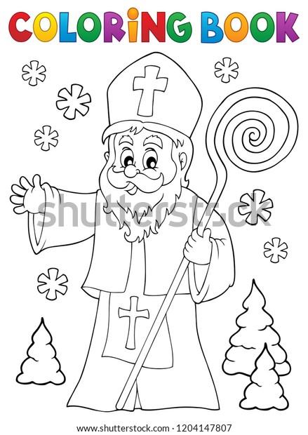 Coloring book Saint Nicholas topic 1 - eps10 vector illustration.