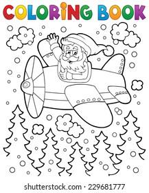 Coloring book Santa Claus in plane - eps10 vector illustration.