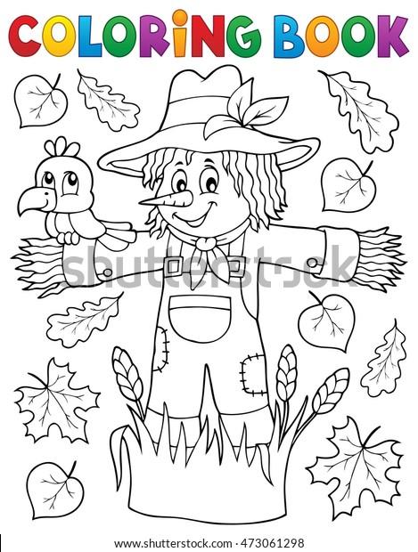 Coloring book scarecrow theme 1 - eps10 vector illustration.