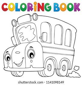 Coloring book school bus theme 5 - eps10 vector illustration.