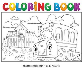 Coloring book school bus theme 6 - eps10 vector illustration.