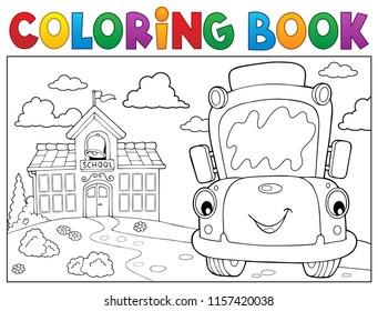 Coloring book school bus theme 8 - eps10 vector illustration.