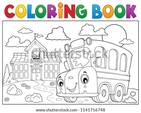 Coloring book school bus theme 6 - eps10 vector illustration.