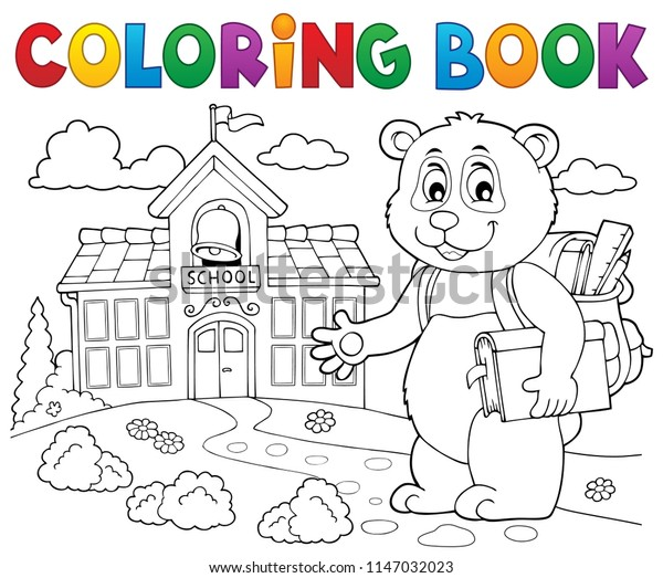 Coloring book school panda theme 2 - eps10 vector illustration.