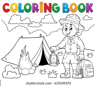 Coloring book scout boy theme 4 - eps10 vector illustration.