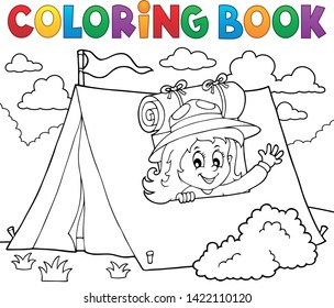 Coloring book scout girl in tent 1 - eps10 vector illustration.