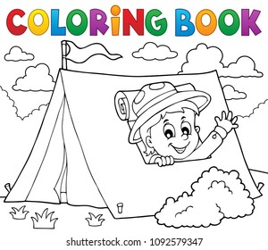 Coloring book scout in tent theme 1 - eps10 vector illustration.