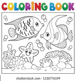 Coloring book sea life theme 6 - eps10 vector illustration.