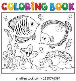 Coloring book sea life theme 5 - eps10 vector illustration.