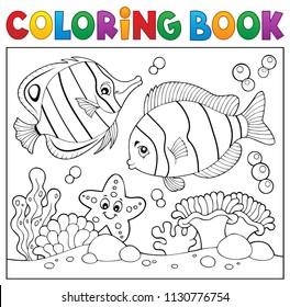 Coloring book sea life theme 4 - eps10 vector illustration.